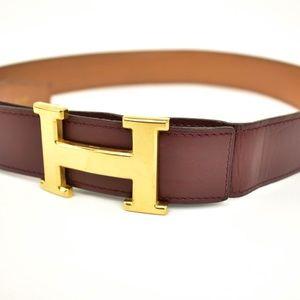 HERMES Burgundy/Brown Reversible Leather H Belt um